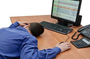 Man asleep at the computer